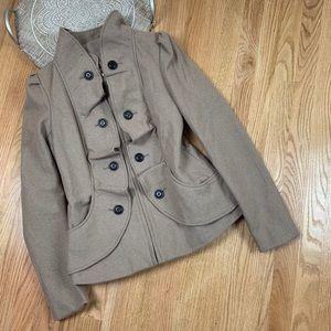 Anthropologie Elevenses Ruffle Wool Breasted Coat